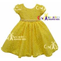 Vestido De Festa Infantil Rendado Bela Com Tiara De Brinde