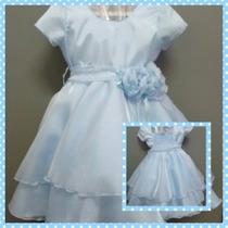 Lindo Vestido De Festa Luxo Infantil Azul Claro