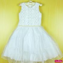 Vestido Infantil Luxo Casamento Daminha Batizado Com Tiara