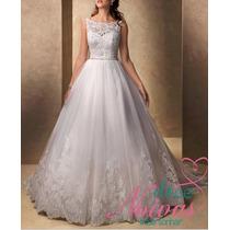 Vestido Noiva Lara Evangelica Alça Pronta Entrega Renda