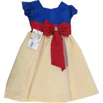 Vestido Infantil Princesa Festa Luxo Branca De Neve Menina