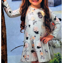 Vestido Infantil Feminino Manga Longa Estampa Florida