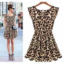 Vestido Luxo Estilo Chifon Onça Oncinha Leopardo - Importado