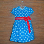 Vestido Infantil Festa Azul Poá Branco Galinha Pintadinha