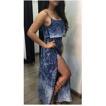 Vestido Jeans Festas Balada Lindo Longo Com Fenda