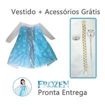 Fantasia Elsa Frozen Infantil Vestido + Acessórios
