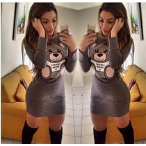 Vestido Juju Panicat Urso Ted Visco Manga Longa Moda 2015