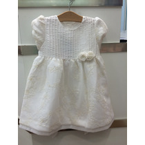 Vestido Infantil Festa Em Tafetá Branco Com Tule Bordado