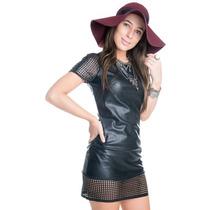 Vestido Feminino De Malha Sintética Vazado
