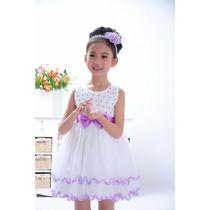 Vestido De Festa Infantil Branco E Lilás
