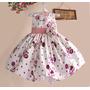 Vestido De Festa Infantil Aniversário Florido Branco E Rosa