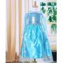 Vestido Fantasia Frozen Elsa Pronta Entrega C/ Capa E Broche