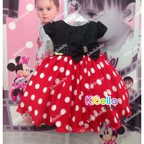 Vestido Infantil Minnie Luxo Vermelho - Tam 1 Ao 3