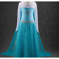 Vestido Longo Fantasia Elsa Frozen Promoção Calda Longa