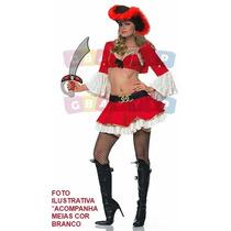 Fantasia Pirata Feminina Adulto Piratinha Sexy Sensual Luxo