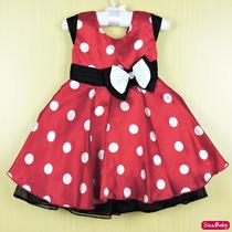 Vestido Infantil Festa Minnie Vermelho Laço Branco Com Tiara
