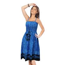 La Leela Nublado Arte Abstrata De Tubo Curto Vestido Azul Br
