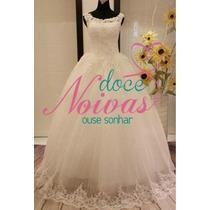 Vestido De Noiva Debutante Alça Divino Branco Pronta Entrega