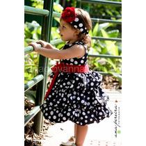 Vestido Minnie Infantil Preto De Poá Branco