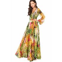 Vestido Longo Alto Verão Estampa De Onça Lindissimo