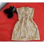 Vestido Dourado De Cetim De Renda - Tamanho P