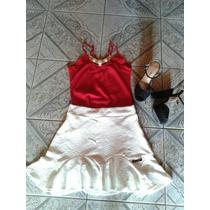 Lindo Conjunto De Saia Com Blusa Colar Vermelha