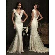 Vestido De Noiva Em Renda Nobre Cauda Sereia Super Justo