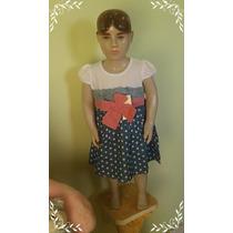 Lindo Vestido Infantil Jeans Renda
