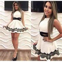 Vestido Rodado Curto Branco E Preto Blogueira Panicat Balada