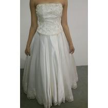 Vestido Noiva Pérola Cetim Com Bordado