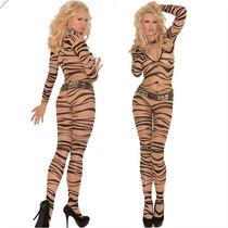 Macacão Sexy De Tigresa - 2a Pele Com Transparência