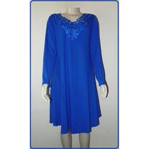 Vestido Bordado Renda Manga Longa Comprida Azul Plus Size