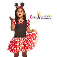 Fantasia Infantil Festa Minnie Vermelha E Rosa Tam 01 Ao 12