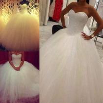 Luxo: Vestido De Noiva Princesa Tomara Caia Tule Sob Medida