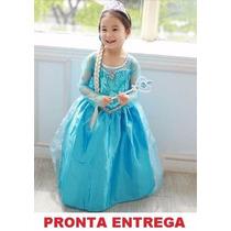 Vestido Fantasia Infantil Elsa Frozen - Ganhe Coroa E Cetro!