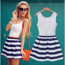 Vestido Marinheira Curto Primavera Verão 2015 Frete Grátis