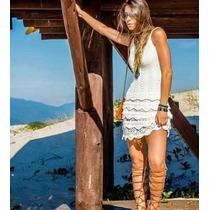 Vestido De Tricot Renda Babados Feminino Frete Grátis