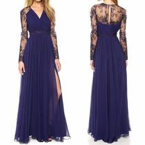 Vestido Longo Rendado Chiffn Azul Festa Casamento Noite