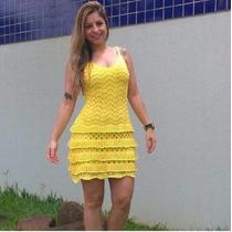 Vestido Curto Renda Trico Tricot Crochê Roupa Feminina