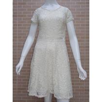 Vestido De Renda Moda Evangélica Creme P M G