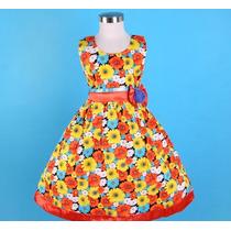 Vestido Infantil Festa/aniversario Flores Amarelo E Laranja