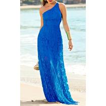 Vestido Longo Festa Ombro Único Em Renda Azul
