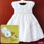 Vestido Infantil Festa Batizado Daminha Luxo Com Tiara