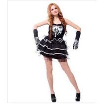 Fantasia Feminina Esqueleto Sexy Importado Arrase Na Festa
