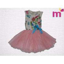 Vestido Infantil - Import. Floral Com Saia Em Tule Tam. 2