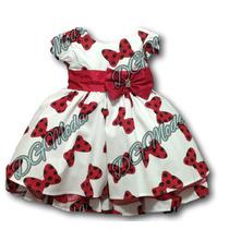 Vestido Minnie Luxo Infantil Com Estampa De Laço -tam 1 /3