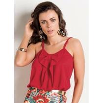 Blusa Vermelha Com Laço Frontal - Promoção - P Á Gg