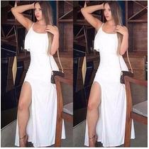 Vestido Longo Fenda E Babado Verão