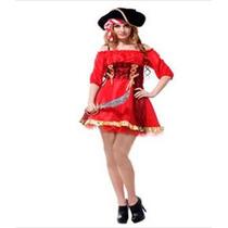 Fantasia Feminina Pirata Vermelho E Preto Importada Arrase