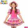 Vestido Festa Junina Infantil Fantasia Caipira Com Chapéu